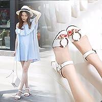 サンダルと夏の粗い女性のバックル、ヒールの靴ローマローマサイズのサンダル、35、白