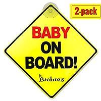 Biebies Baby On Board 大きな窓用安全カーサイン 男の子/女の子用 子供に安全