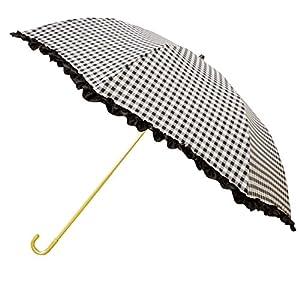 ピンクトリック 折りたたみ傘 日傘/晴雨兼用 ザ フリル ブラック 8本骨 50cm UVカット 97% 以上 82109