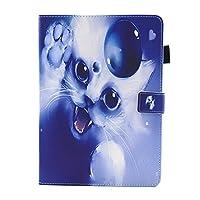 iPad Pro 9.7 ケース iPad Pro 9.7 カバー アイパッド プロ 9.7 カバー 可愛い 白い猫柄 レザーケース 多段階調整可 カード収納 スタンド機能 ポケット付き マグネット式 タブレットカバー ケース 耐衝撃 薄型 全面保護 手帳型 スマートケース【Astarz】