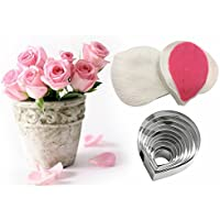 AK ART KITCHENWARE Leaf and Flower Tool Kit Stainless Steel Cookie Cutter Set Silicone Veining Mould Petal Texture Tool Sugar Flower Making Tool A361-1 & VM057
