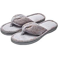Women's Soft & Comfy Knitted Plush Fleece Lining Memory Foam Spa Thong Flip Flops House Slippers