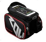 S LOAD 自転車 スタンド 6.2インチ サドル バッグ 防水 大容量 フロントバッグ サイドバッグ スマホ ホルダー iPhone 7 6/6S/Plus Xperia 対応 アウトドア バイク 収納 アクセサリー ロードバイク (赤)