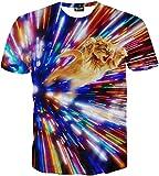 (ピゾフ)Pizoff メンズ 猫柄 Tシャツ 丸首半袖  3D ネコ柄 原宿系 おもしろ 個性的 快適 カジュアル V系 男女兼用 トップス Y1625-26-XL