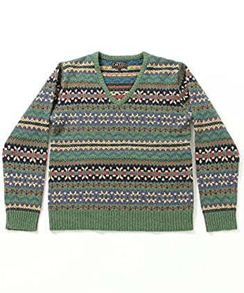 Fair Isle V-neck Sweater 11-15-0366-103: Green