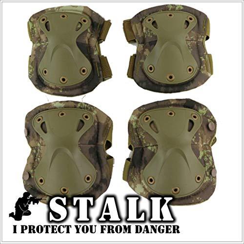 【STALK】最新カラー13種類 XTAK型 プロテクター エルボーパット ニーパット 肘 膝(4点・コンパクト収納袋セット) 自転車 登山 サバゲー スケボー 衝撃吸収 防御 防護 (廃墟カモフラージュ)