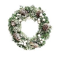 30 cmクリスマスパインコーンスノーフレークリースドア壁装飾花輪装飾