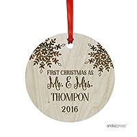 Andaz Press レーザー彫刻の木製クリスマス装飾品ギフトバッグ付き(個人の名前を入れることができます) APPCE00135