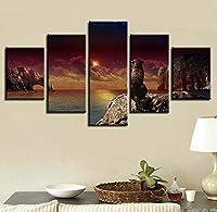 リビングルームモダンなリビングルームのキャンバスの風景ポスター