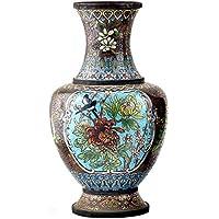 インドのシェルフハンドメイドビンテージCloisonneブラック花瓶鳥と花(amp-111 a)