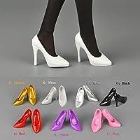 B Baosity 1ペア 1/6スケール 光沢 人形 ドール ハイヒール 靴 足の曲線 12 インチアクションフィギュア  - 黒