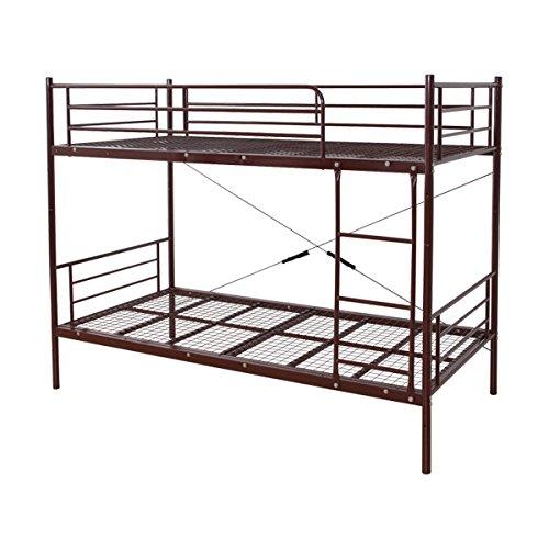 頑丈で省スペース!パイプ二段ベッド ブラウン(耐荷重100kg)分割可能!耐震性・通気性抜群