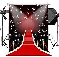 sensfun 5x 7ftビニールレッドカーペット写真バックドロップライトステージ写真背景スタジオビデオ小道具