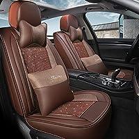 高級カーシートカバー、5人乗り車のユニバーサルレザーアイスシルクフルセットの四季パッド互換性のあるエアバッグ枕 (色 : Brown)