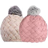 Lovoski 2個 お買い得 ベビー 赤ちゃん ビーニー キャップ 帽子 柔らかい ボンボン付