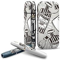 IQOS 専用 COMPLETE アイコス 専用スキンシール 全面セット サイド ボタン スマコレ チャージャー カバー ケース デコ 瓶 英語 モノトーン 012678