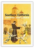 南カリフォルニア - ユナイテッドエアラインズ - スペインのミッション、パドレ摂食鳥 - ビンテージな航空会社のポスター によって作成された スタン・ガリ c.1950s - 美しいポスターアート