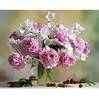 Frameless DIY Painting By Numbers Pink Flower For Wedding Decoration Arts