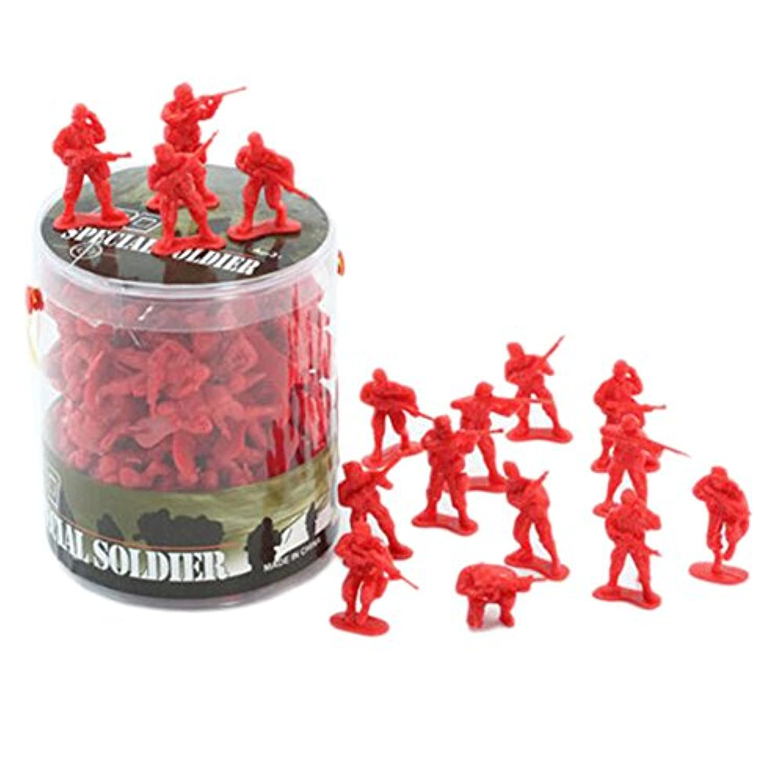 100個の玩具兵士のギフト/車/トラック/トラクター/おもちゃの銃のモデル-赤兵士 1:32