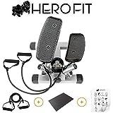 HERO FIT 健康ステッパー ツイストステッパー 踏み台 ステップエクササイズ + ミニ パワーバンド + 滑り止めマット + 日本語エクササイズガイド 4点お得セットでダイエット 効果
