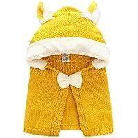 Elfin Parkベビー ボア ポンチョ ニット フード付き マント 羽織 セーター アウター あったか 防寒対策 ニット帽 耳 首元 出産準備 新生児 お祝い プレゼント 赤 ピンク 黄色