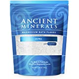 Ancient Minerals Magnesium Bath Flakes Ultra with OptiMSM - Resealable Magnesium Supplement Bag of Zechstein Chloride with Pr