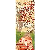 濱文様 絵てぬぐい お散歩ねこ 紅葉の道 オフ