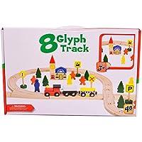 moombike 48ピース磁気木製トレイントラックセットIncludesトレイントラック車、機関車とアクセサリー互換and fitsトーマス、Brio、チャギントン、Melissa & Doug Wooden Train Toys for Kids