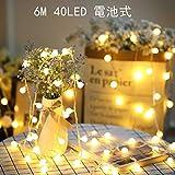 SFOUR フェアリーライト電飾led イルミネーションライト 6M40個LED 電池式 クリスマス 飾りツリー led電球庭 ライト屋外防水イルミ室内枕元 ライト ledに適してベッドルーム|アウトドア|結婚式|庭対応|誕生日 (ウォームホワイト) (電球色)の写真