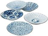 西海陶器 藍絵変り 楕円反鉢揃 31302