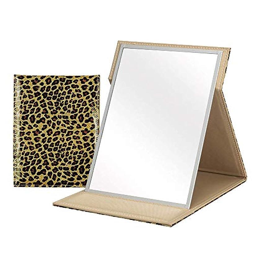 ハング予測用心深い手鏡 ミラー 折りたたみ 鏡 ヒョウ柄ゴールド フォールディング カバー IMPACT インパクトL