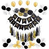 yuzuyu_shop 誕生日 ガーランド セット HAPPY BIRTHDAY ペーパーポンポン ペーパータッセル 風船 バルーン (ブラック) [並行輸入品]