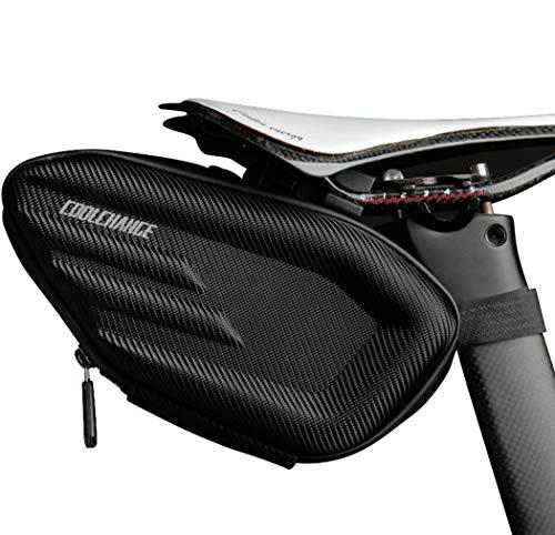 CoolChang 自転車 サドルバッグ シートバッグ 大容量 防水 3Dシェル 反射材付き 取り付け簡単 サイクリング 自転車バッグ ブラック