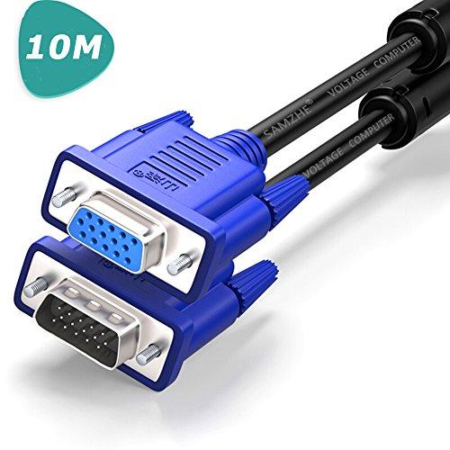 『SAMZHE VGA ケーブル 10m 1080P 高解像度 D-Sub 15pin オス メス 複合同軸 ディスプレーケーブル アナログRGB 液晶テレビ/コンピュータ/モニター など対応』のトップ画像