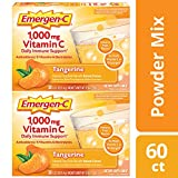 Emergen-C Vitamin C 1000mg Powder (60 Count, Tangerine Flavor, 2 Month Supply), With Antioxidants, B Vitamins And Electrolytes, Dietary Supplement Fizzy Drink Mix, Caffeine Free