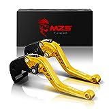 MZS 6段調整 ブレーキ クラッチ レバー 用 カワサキ 250TR 02-13年/ KL125D 10-14年/ KLX125 10-16年/ KLX150S 09-13年/ KLX250 08-16年/ Ninja250/ Ninja 250R 08-12年/ Ninja 300R Z300 13-18年/ Ninja 400 18年/ Versys 300 X 17-18年/ Z125 pro 15-18年/ Z250 Z250SL/ Z300 15-18年 ゴールド