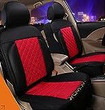 (ファーストクラス)FirstClass ノンスリップシート 四季用 ファブリック エアバッグホールあり フロント リア クッション 車シートカバー 赤い&黒い 汎用 A4 A6 Q5 Q7 アベオ クルーズ6pcs