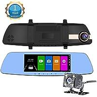 NexGadget ドライブレコーダー 7.0インチルームミラー型 大画面 タッチスクリーンドラレコ 1080P Full HD高画質 150広視野角 2カメラ搭載 常時録画 Gセンサー搭載
