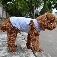 犬ノースリーブTシャツ、大型中型小型犬用のカジュアルドッグコットン服ベストTシャツ、100%着心地の良い、ペットのバック(M、灰色)