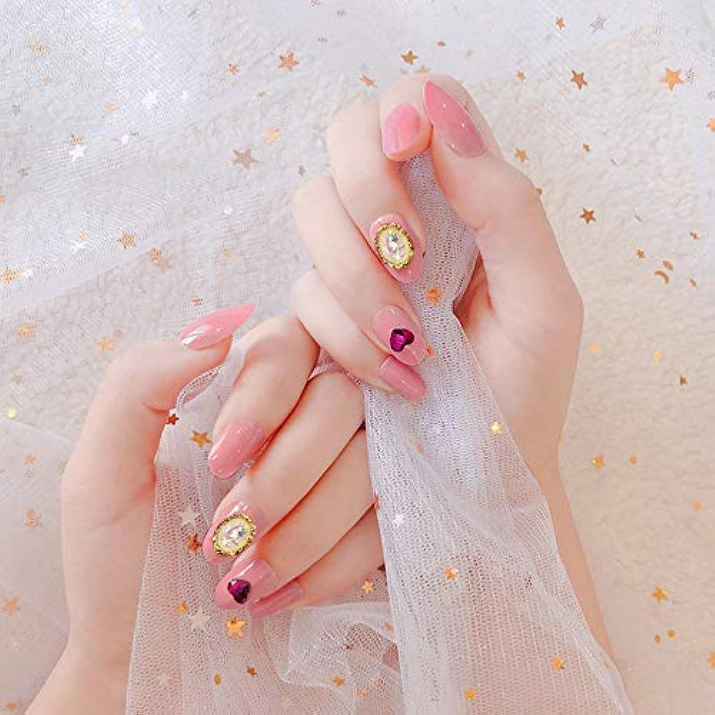 判決アジア人楽なXUTXZKA 24pcsピンクの偽の釘の釘の釘の先端の構造用具の女性のネイルアート