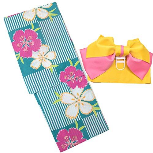 浴衣 レディース セット 福袋 2点セット 女性 浴衣+作り帯 柄が選べる6柄 大人浴衣 (9青緑地に縦縞市松)