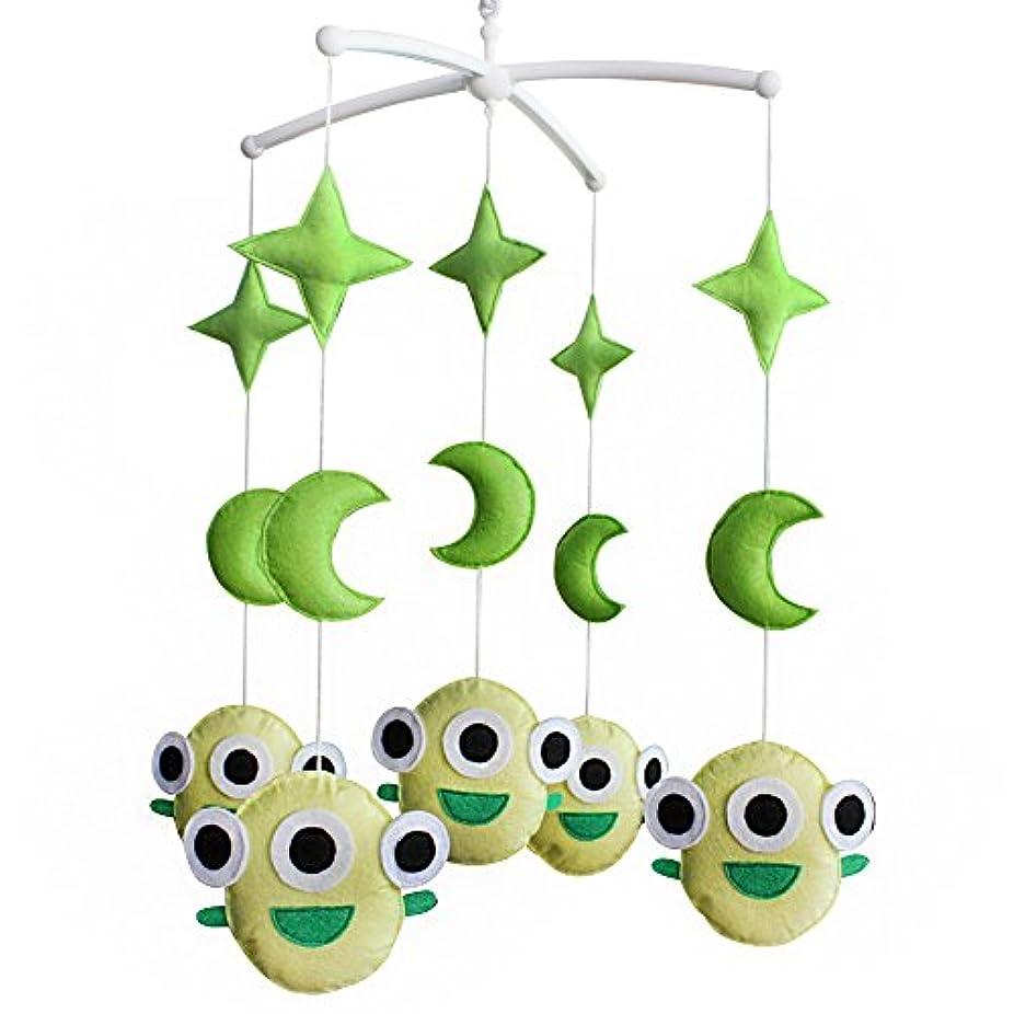 葉を集めるマウンドパスタベビーミュージカルベビーモバイルグリーンモンスタームーンスターハロウィーンの装飾ベビーベッドモバイル幼児玩具ベビーギフト