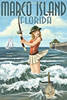 Marco島、フロリダ州 – Pinup Girl Surf Fishing 16 x 24 Giclee Print LANT-42860-16x24