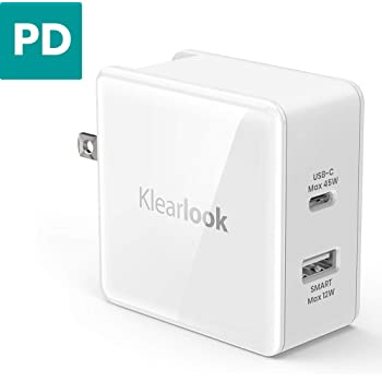 USB C PD 充電器 45W USB Power Delivery 3.0 QC3.0 Type-C 急速充電 + 2.4A 2ポート USB充電器 iPhone X/iPhone 8 Plus / Macbook12-inch(2015~現在) / Nintendo Switch/スマートフォン/タブレットなどのUSBデバイス対応 (ホワイト)
