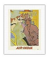 パリ、フランス - 「ムーランルージュのイギリス人」にインド航空のマハラジャが紛れ込む - ロートレックさん、ごめんなさい - エアインディアインターナショナル - ビンテージな航空会社のポスター c.1966 - キャンバスアート - 41cm x 51cm キャンバスアート(ロール)