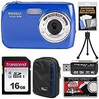Vivitar ViviCam f126デジタルカメラ(ブルー) with 16GBカード+ケース+ミニ三脚+リーダー+キット