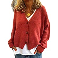 Macondoo Women's Casual Long Sleeve Button Down Knitted Sweater Coat Jacket Cardigan