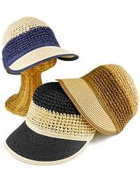 ノーブランド品 コマ編みボーダーペーパーキャスケット レディース帽子