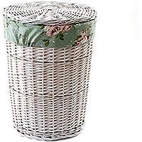 ランドリーバスケット 大型の蓋付き 洋服収納 ウィロー 2色オプション ZHANGQIANG (色 : White-Floral, サイズ さいず : 42 * 53センチメートル)