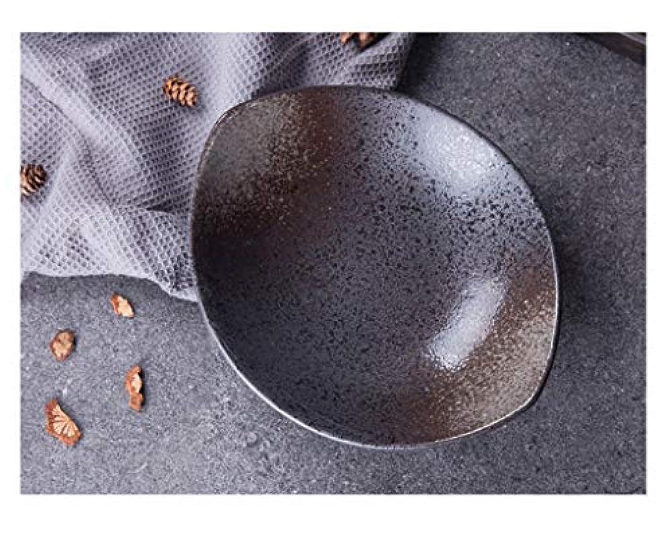 ハンサム熟す貝殻セラミックボウル 日本の陶器丼、家庭用食器、大フルーツサラダ丼 ホーム (色 : ブラック)
